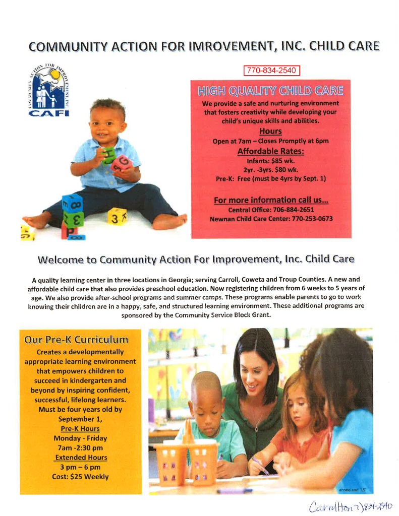 CAFI Childcare Flyer