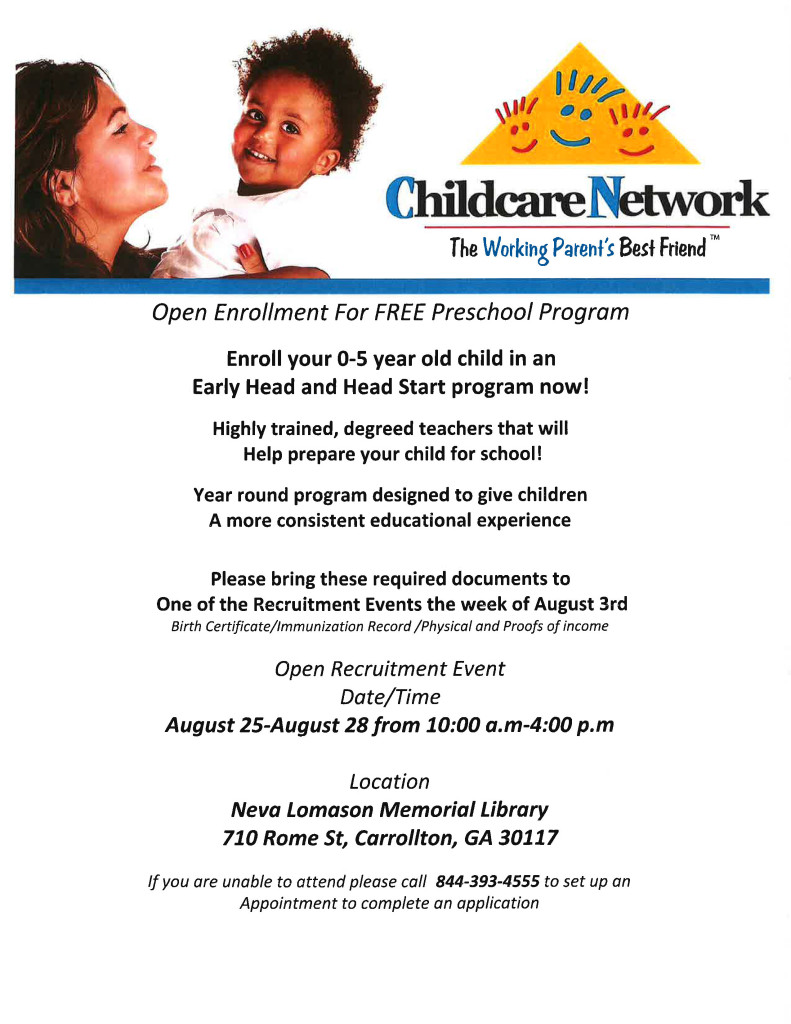 Child Care Network Pre K August 2015
