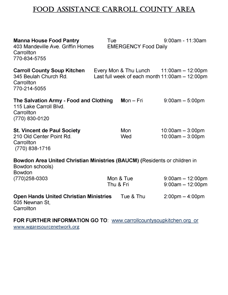 Food Assistance List