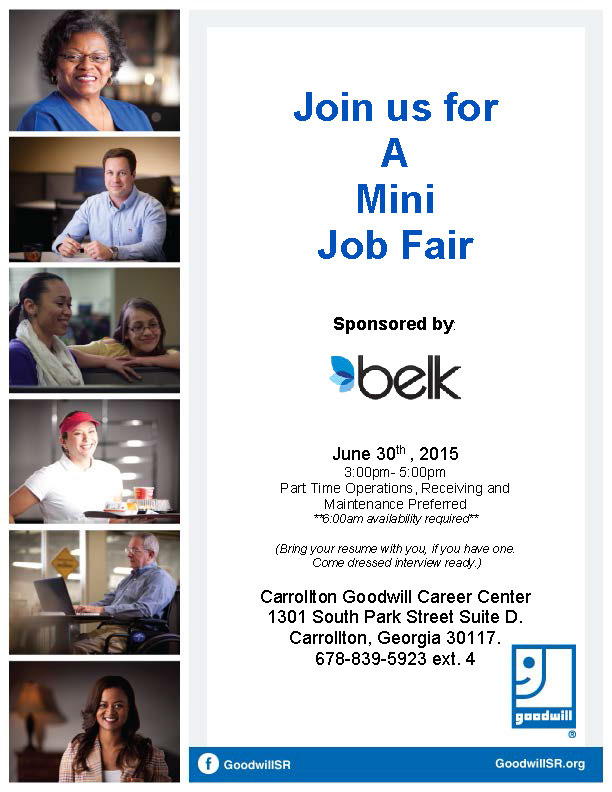 Job Fair Flyer for Belk 6-2015