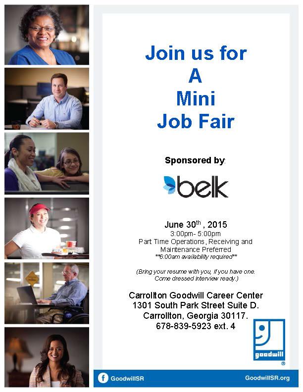 Job Fair Flyer for Belk 6-2015