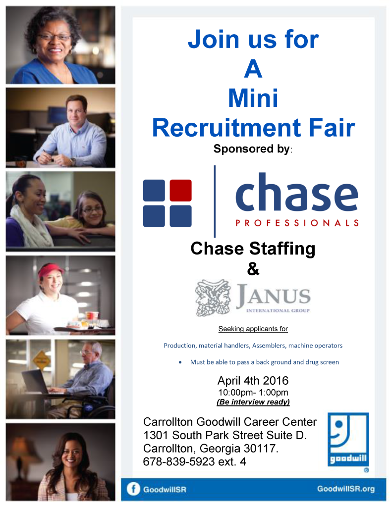 Job Fair Flyer for Chase 4-4