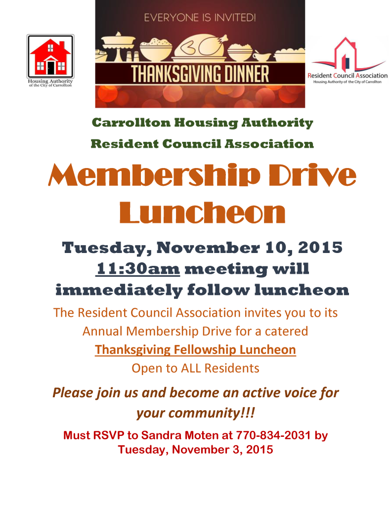 RCA Thanksgiving flyer