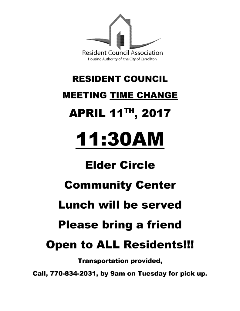 RESIDENT COUNCIL Flyer