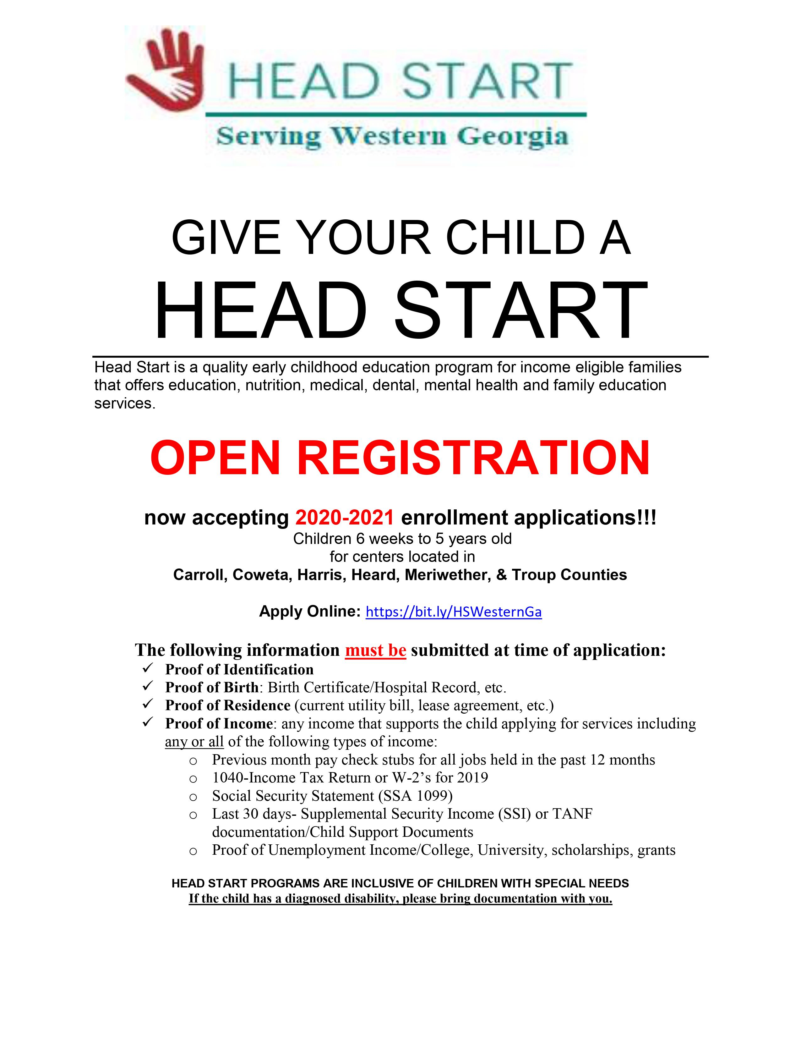 Open Enrollment – Head Start Servicing Western Georgia