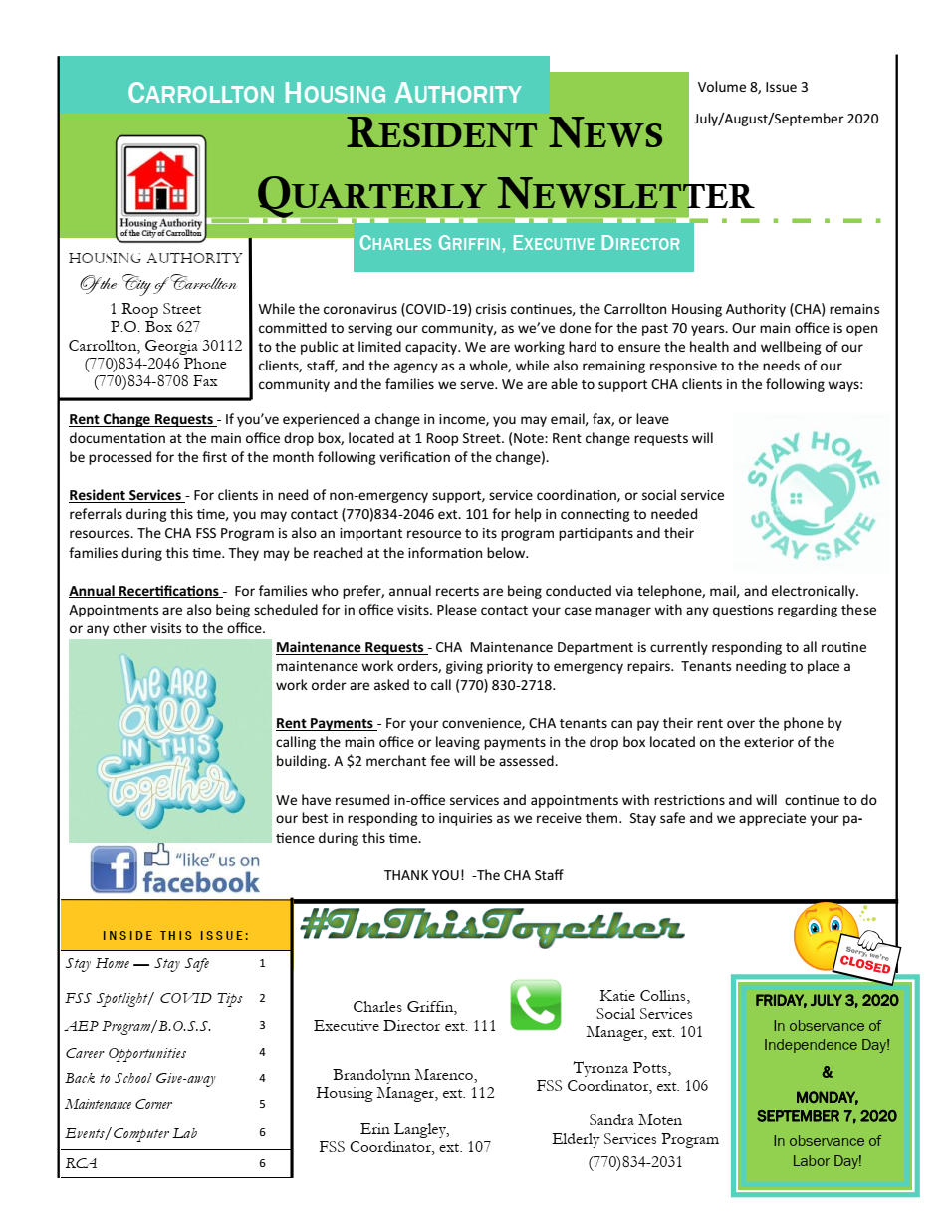 CHA Quarterly Newsletter