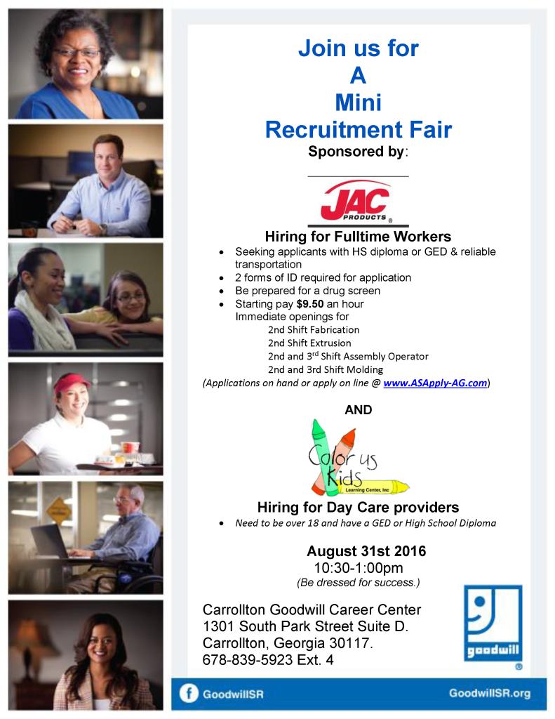 Job Fair Flyer for 8-31-16