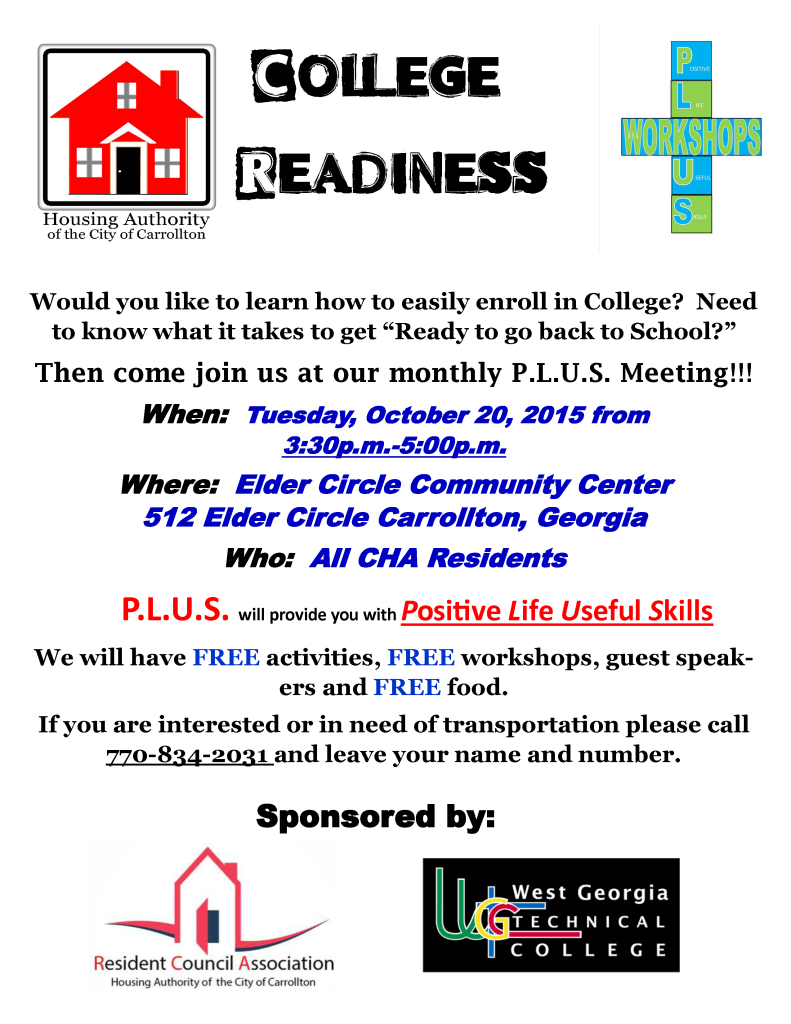 PLUS Flyer for October 2015