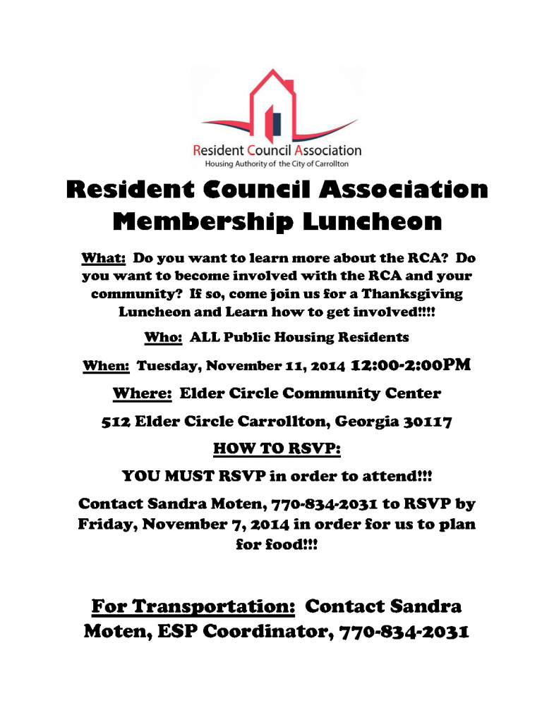 Resident Council Association Membership Luncheon